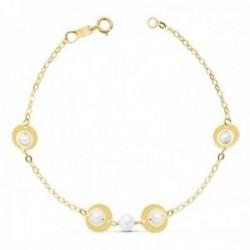 Pulsera oro 18k 18cm cadena perlas naturales motivos círculos [AC0988]