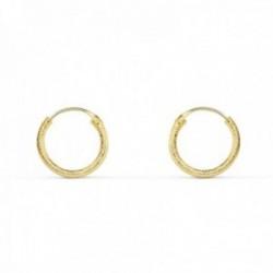 Pendientes oro 18k aros huecos 11mm. diamantados [AC0990]
