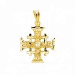 Colgante oro 18k Cruz de Jerusalen 21mm. liso formas talladas brillo unisex