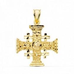 Colgante oro 18k Cruz de Jerusalen 27mm. liso formas talladas brillo unisex