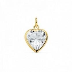 Colgante oro 18k motivo corazón 10mm. centro circonita [AC1002]