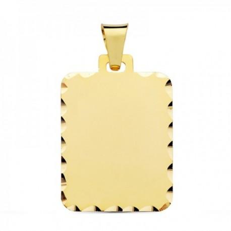 Colgante oro 18k chapa 31mm. borde tallado lisa [AC1005GR]