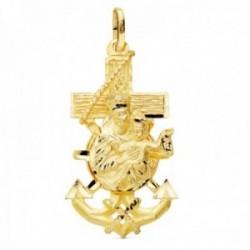 Colgante oro 18k Cruz Marinera 36mm. Virgen del Carmen tallado brillo unisex