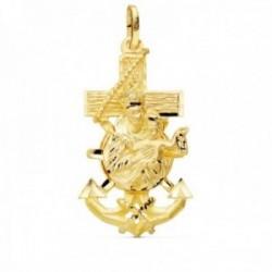 Colgante oro 18k Cruz Marinera 40mm. Virgen del Carmen tallada brillo unisex