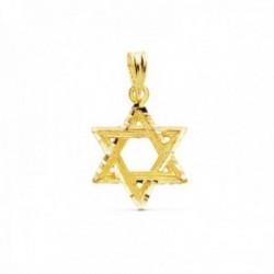 Colgante oro 18k Estrella de David 15mm. bordes tallados [AC1012]