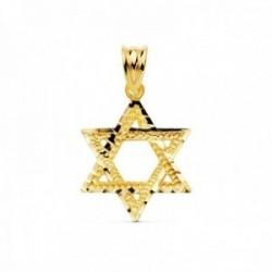 Colgante oro 18k Estrella de David bordes tallados brillo [AC1013]