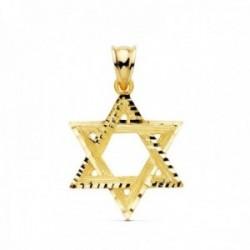 Colgante oro 18k Estrella de David 23mm. bordes tallados [AC1014]