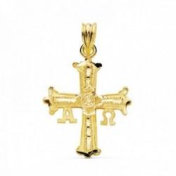 Colgante oro 18k Cruz Covadonga 27mm. lisa brillo calada detalles tallados Alfa Omega unisex