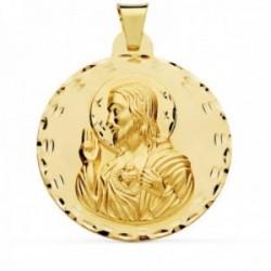 Colgante oro 18k Corazón de Jesús 42mm. liso bordes tallados [AC1022]