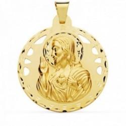 Colgante oro 18k Corazón de Jesús 42mm calado redondo [AC1024]