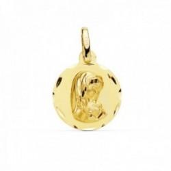 Medalla oro 18k Virgen Niña 14mm. redonda lisa borde tallado