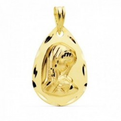 Medalla oro 18k Virgen Niña 21mm. lágrima borde tallado [AC1029]