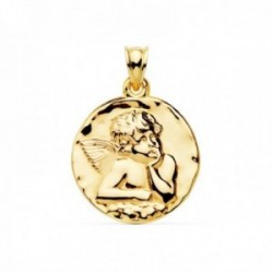 Medalla oro 18k Angelito 24mm. brillo lisa [AC1035]