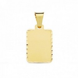 Colgante oro 18k chapa rectangular 20mm. borde tallado lisa [AC1045]