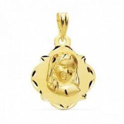 Medalla oro 18k Virgen Niña 19mm. bordes tallados [AC1046]