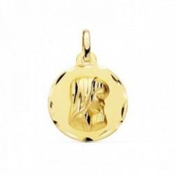 Medalla oro 18k Virgen Niña 16mm. bordes tallados redonda lisa