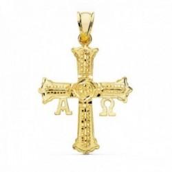 Colgante oro 18k Cruz de Covadonga 31mm. detalles tallados Alfa Omega unisex