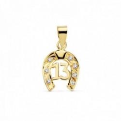 Colgante oro 18k herradura 14mm. número 13 amuleto suerte [AC1057]