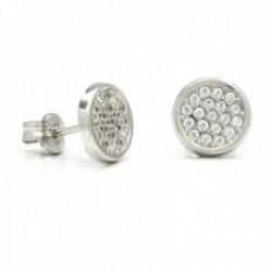 Pendientes oro blanco 18k centro circonitas 7.5mm. presión [AB9882]