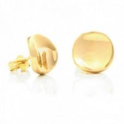 Pendientes oro 18k lisos 11mm. circulares cóncavos presión [AB9883]