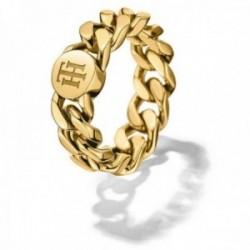 Sortija Tommy Hilfiger acero inoxidable talla 11 dorada cadena logo TH 2700967B [AB9894]