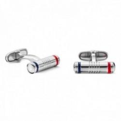 Gemelos Tommy Hilfiger acero inoxidable cilindro esmaltado rojo azul marino 2700777 [AB9896]