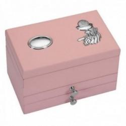Joyero comunión detalle plata Ley 925m bilaminada madera rosa dos cajones [AC1063GR]