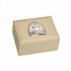Joyero comunión detalle plata Ley 925m bilaminada madera beige