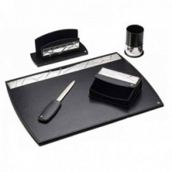 Escritorio set escribanía detalles plata Ley 925m bilaminada 5 piezas piel negra [AC1066]