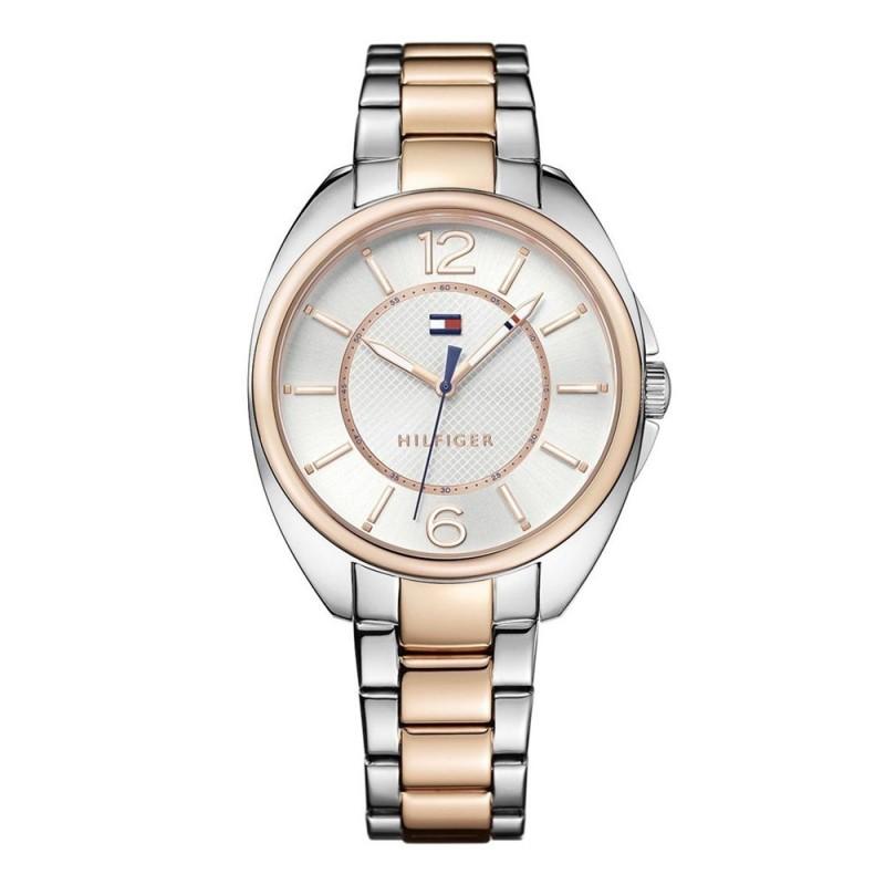 5189e27f3 Reloj Tommy Hilfiger mujer bicolor elegante 1781696 rosado plateado acero  inoxidable. Loading zoom
