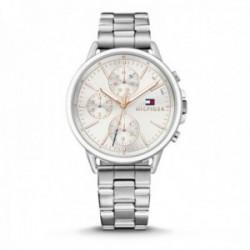 Reloj Tommy Hilfiger mujer plateado detalles rosados 1781787 [AB9862]
