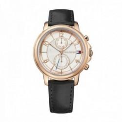Reloj Tommy Hilfiger mujer piel negro acero rosado 1781817 [AB9865]