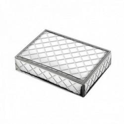 Caja plata Ley 925 bilaminada rombos exterior madera blanca tela interior [AC1058]