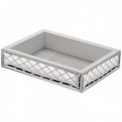 Vaciabolsillos plata Ley 925m bilaminada rombos exterior madera blanca tela interior [AC1059]