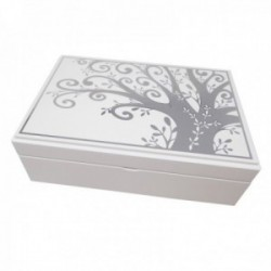 Caja árbol de la vida plateado efecto brillo madera blanca [AC1060]