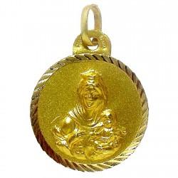 Medalla oro 18k escapulario Virgen del Carmen Corazón de Jesús [4797]