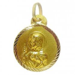 Medalla oro 18k escapulario 16mm. [4798]