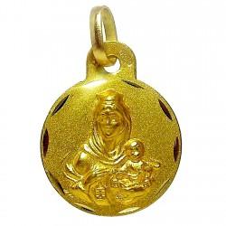 Medalla oro 18k escapulario Virgen del Carmen Corazón de Jesús [4800]