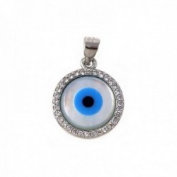 Colgante plata Ley 925m ojo turco nácar Horus circonitas [AB9959]