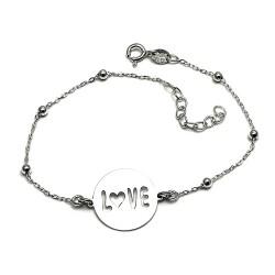 Pulsera plata Ley 925m chapa LOVE 17.5mm. cadena bolas [AB5460]