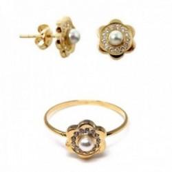 Juego oro 18k comunión pendientes sortija flor perla circonitas [AB9921]