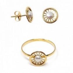 Juego oro 18k comunión pendientes sortija perla botón círculo calado [AB9922]