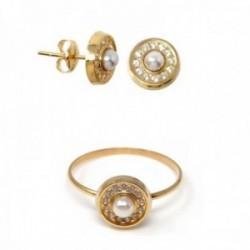 Juego oro 18k comunión pendientes sortija perla círculo circonitas [AB9923]