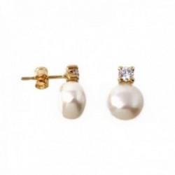 Pendientes oro 18k primera comunión 11mm. niña perla cultivada circonita garra cierre presión