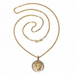 Colgante oro bicolor 18k comunión 18mm. Virgen Niña flor calada circonita cadena 50cm. incluida