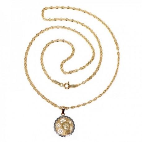 Colgante oro bicolor 18k comunión 15mm. Virgen Niña flor calada circonita cadena 50cm. incluida