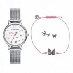 Pack reloj Viceroy niña colección Sweet con pulsera pendientes plata Ley 925m 401074-05 [AB9946]