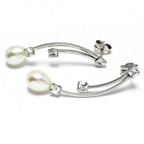 Pendientes oro blanco 18k largos perla cultivada circonita [402]