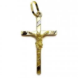 Cruz crucifijo oro 18k colgante cristo [4841]