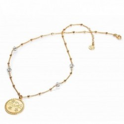 Gargantilla plata Ley 925m Viceroy chapa MAMÁ estrellas cadena dorada bolas 1223C100-50 [AB9979]